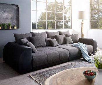 Big-Sofa Violetta 310x135 cm Hellgrau Creme mit Hocker Möbel Sofas