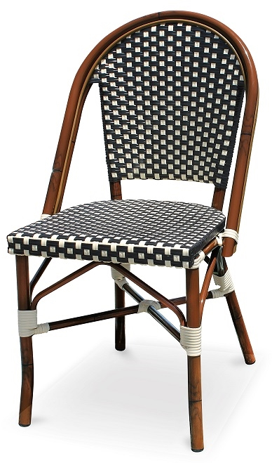 Black & White Rattan Bistro Aluminum Chairs