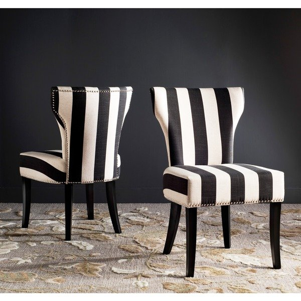Shop Haver Black and Beige Striped Dining Chairs (Set of 2) - On