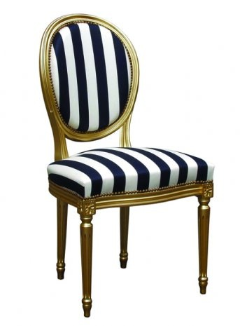 Striped gold and black and white chair. | New House | Chair, Dining