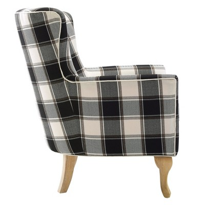 Knox Checkered Pattern Accent Chair Black/White Checkered - Dorel