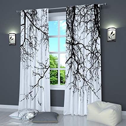 Amazon.com: Black And White Curtains by Factory4me Black Branches