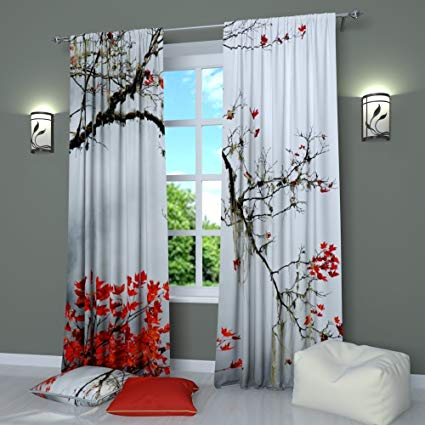 Amazon.com: Black and White Curtains Window Panels Print Asian
