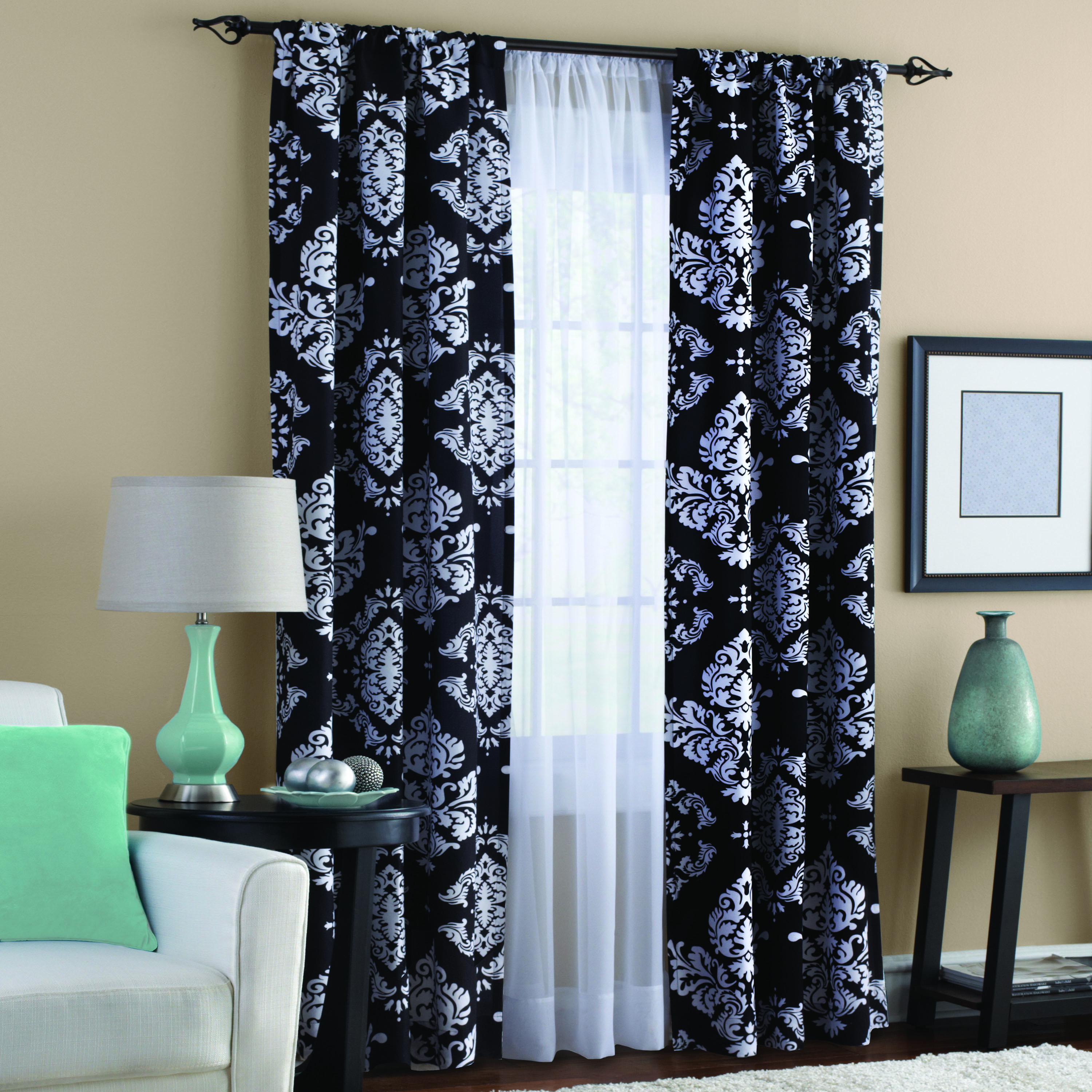 Classic Noir Black and White Window Curtain - Walmart.com