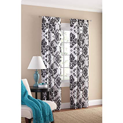 Amazon.com: Black and White Damask Curtain Panel Set of 2, 40x84