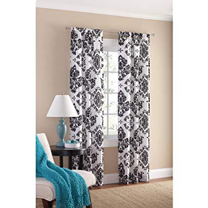 Amazon.com: Black and White Damask Curtain Panel Set of 2, 40x84