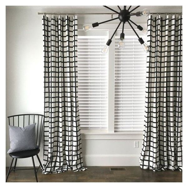 Windowpane Plaid Drapes, Black and White Drapes, Check Drapes, Plaid