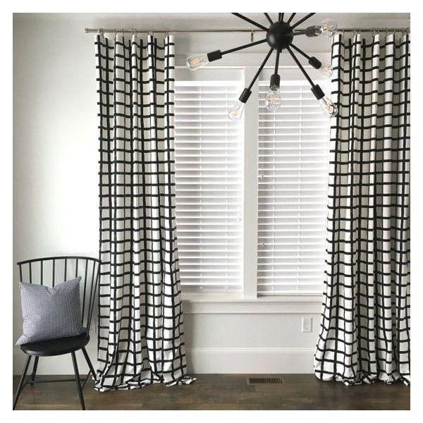 Windowpane Plaid Drapes, Black and White Drapes, Check Drapes, Plaid