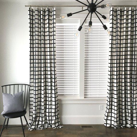 Windowpane Plaid Drapes Black and White Drapes Check Drapes | Etsy