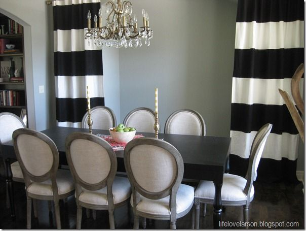 black and white drapes | White IKEA Curtains (previously purchased