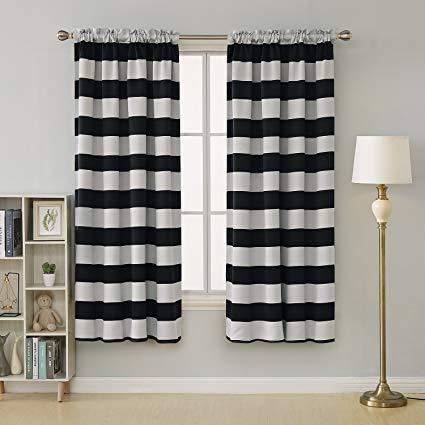Amazon.com: Deconovo Striped Blackout Curtains Rod Pocket Black and