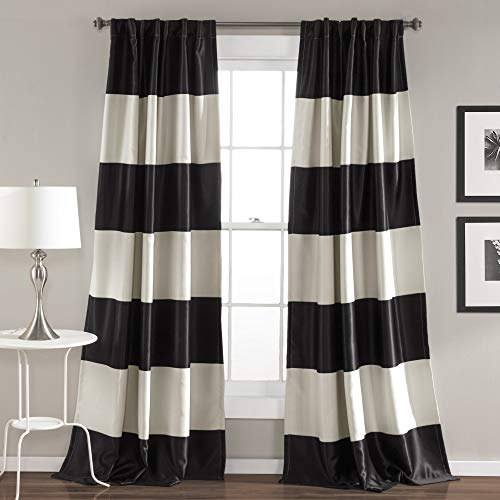 Amazon.com: Lush Decor Montego Striped Window Curtains Panel Set for