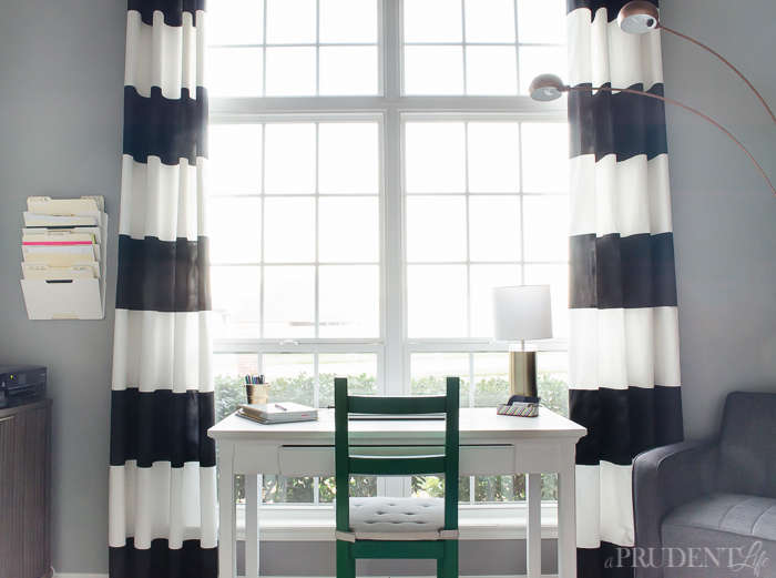 Magnificent White Striped Curtains Decorating with Horizontal Black