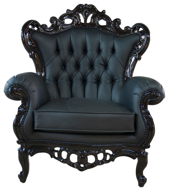 Full Polyurethane King Armchair, Black - Victorian - Armchairs And
