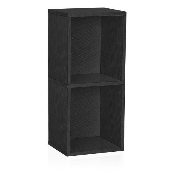 2 Shelf Narrow Bookcase in Black - Formaldehyde Free - Way Basics