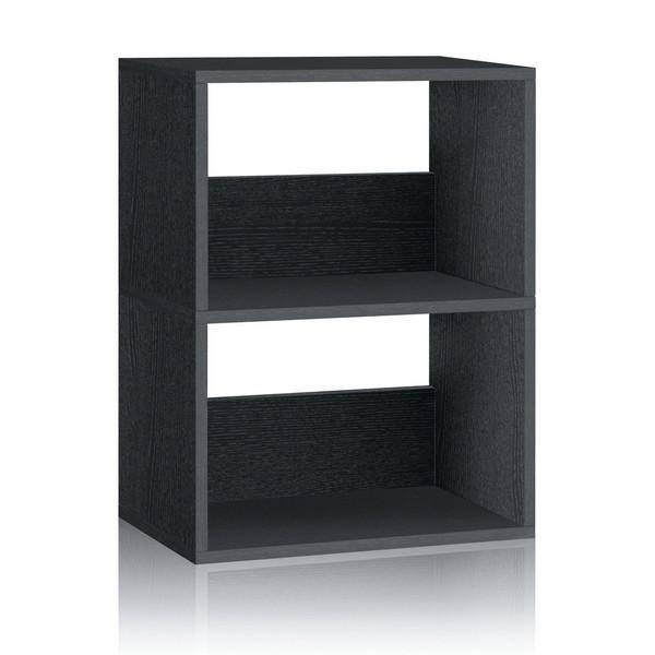2 Shelf Black Bookcase | Easy Non-Toxic Formaldehyde Free - Way Basics