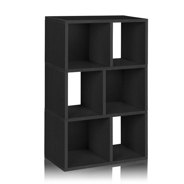 3 Shelf Cubby Bookcase in Black - Formaldehyde Free - Way Basics