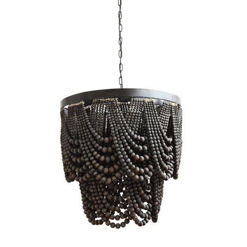 3R Studio Black Metal And Wood Bead Chandelier Da7756 | Bellacor