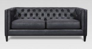 Lewes Tufted Sofa - Black - Threshold™ : Target