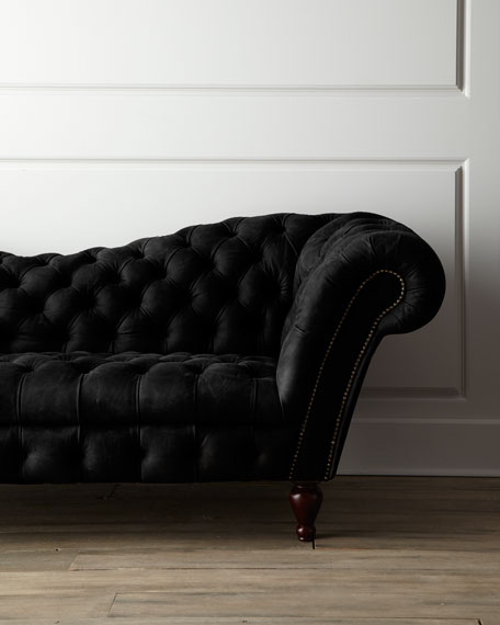 Black Recamier Leather Sofa 90.25