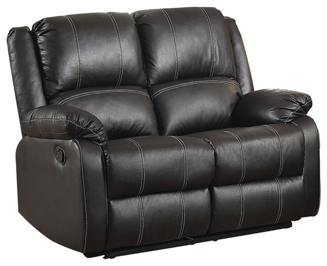 Black Leather Recliner Loveseat - Contemporary - Loveseats - by