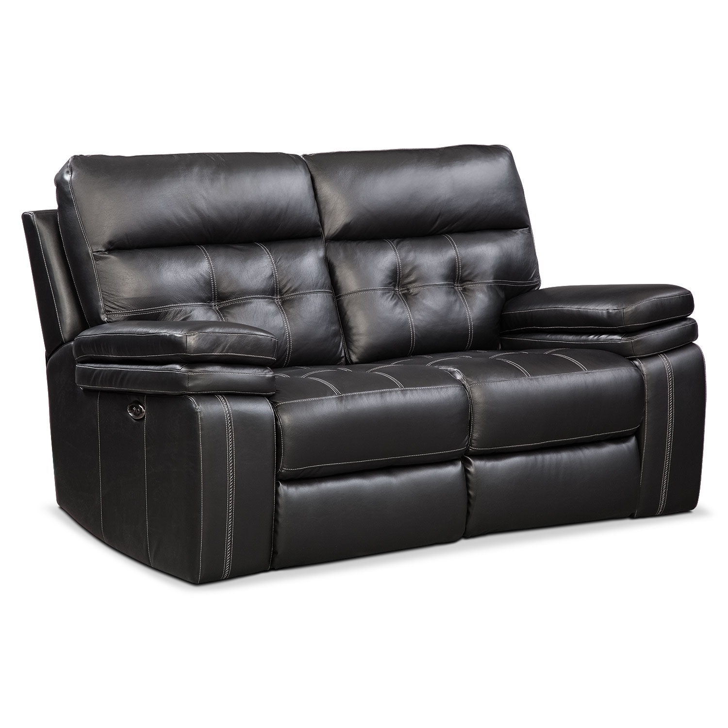 Brisco Power Reclining Loveseat - Black   Value City Furniture and