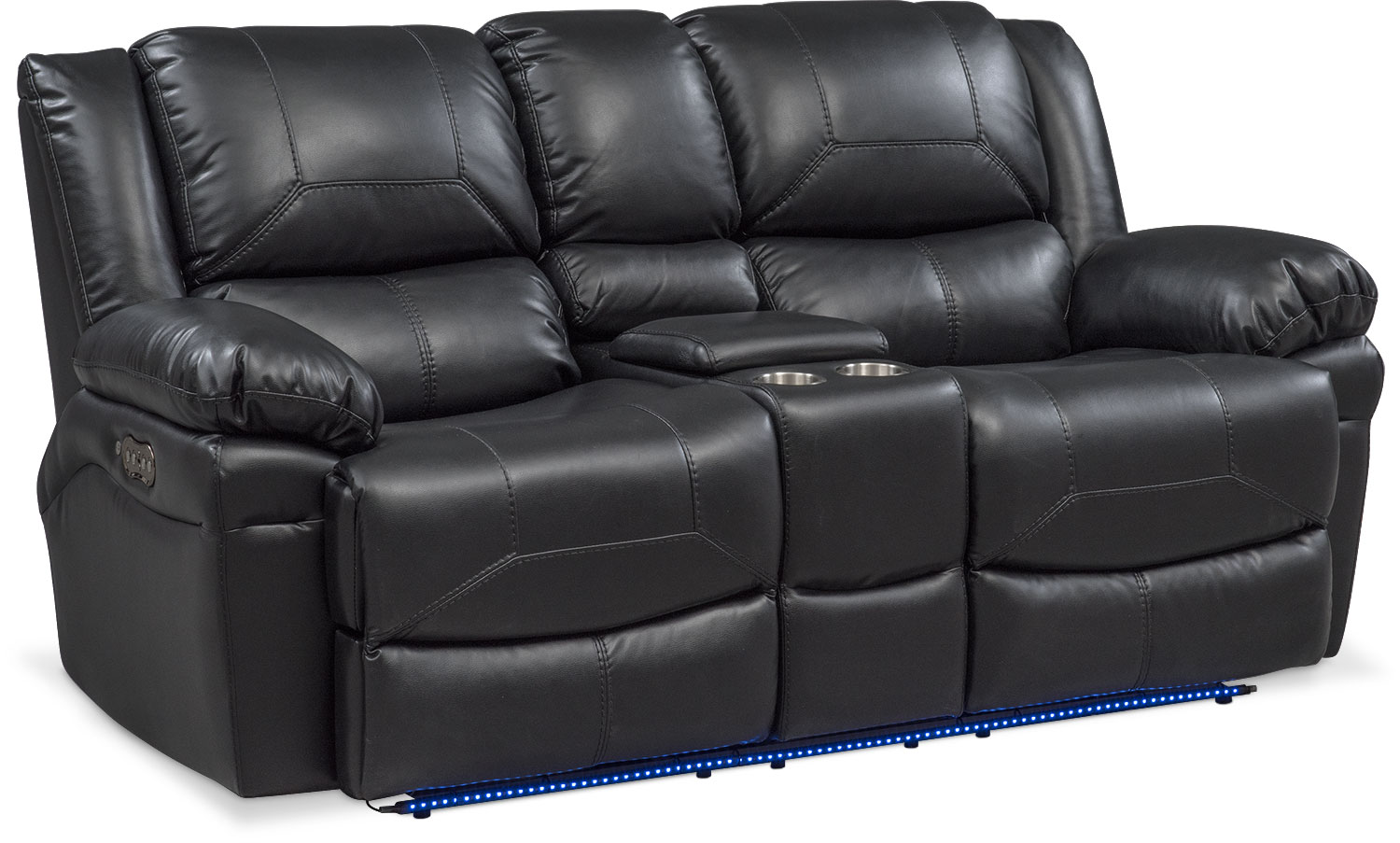 Monza Dual Power Reclining Loveseat with Console - Black   Value
