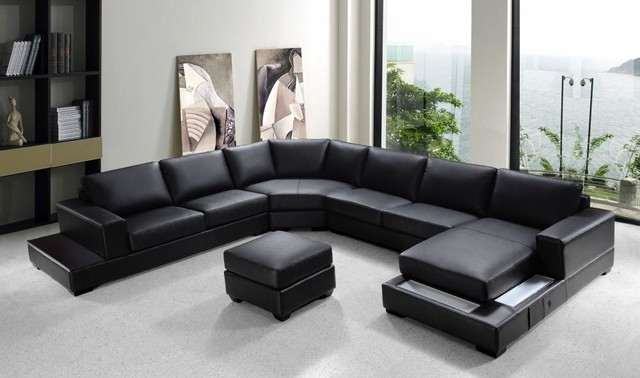 Modern Black Bonded Leather Sectional Sofa Set - Modern - Living