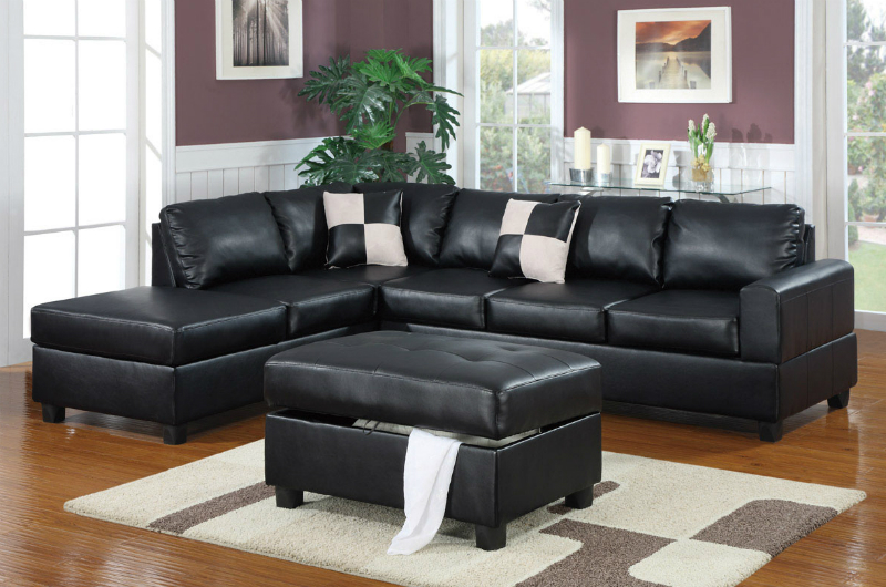 Black Leather Sectional Sofa and Ottoman - Steal-A-Sofa Furniture