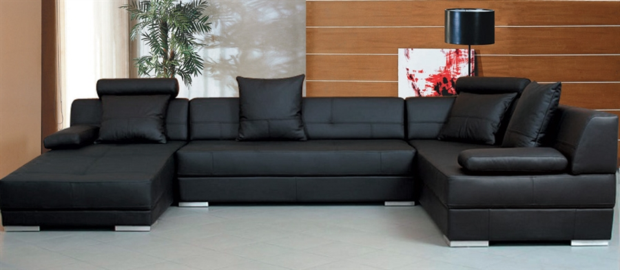 Trendy black leather sectional   sofas