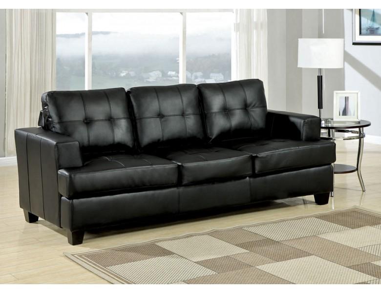 Diamond Black Leather Sofa Bed