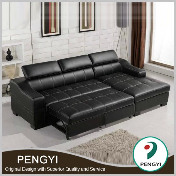 Black leather bed sofa/sofa leather sofa bed/l shape sofa cum bed
