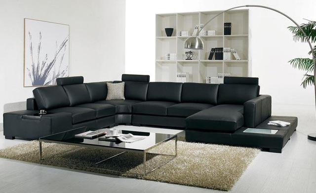 Black leather sofa Modern Large Size U Shaped Sofa Set with light