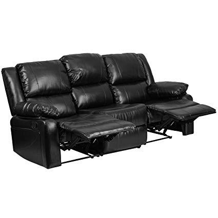 Amazon.com: Flash Furniture Harmony Series Black Leather Sofa with