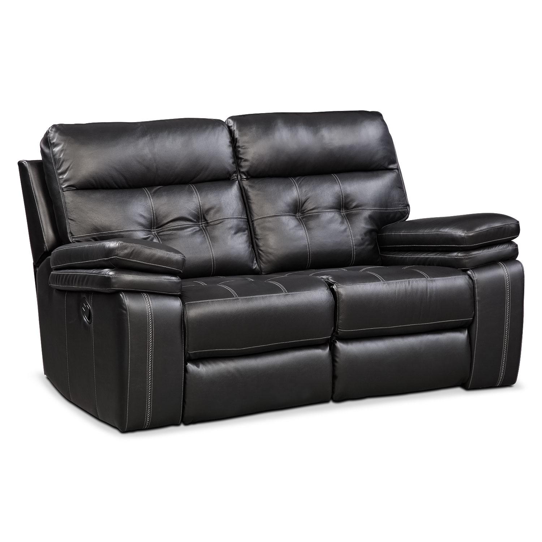 Brisco Manual Reclining Loveseat - Black | Value City Furniture and