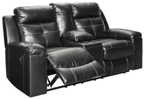Kempten Black Reclining Loveseat With Console (8210594) | Ashley
