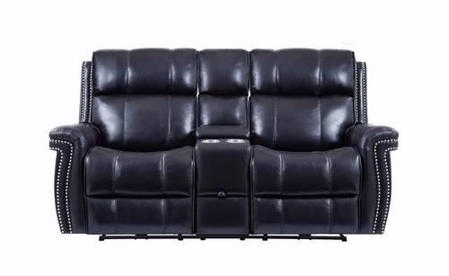 U1707 Black Leather Gel Power Reclining Loveseat by Global Furniture