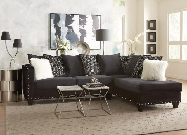 Delta Implosion Black Model 4176 Sectional Sofa | Savvy Discount