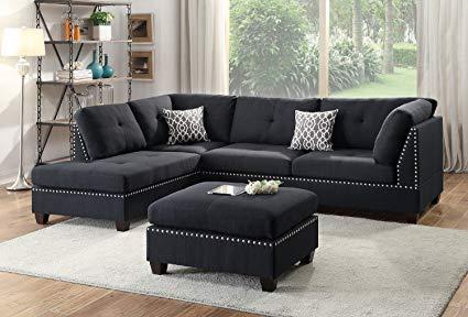 Amazon.com: Modern Contemporary Polyfiber Fabric Sectional Sofa and