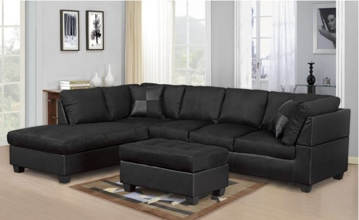 Master Furniture Living Room Black sectional sofa. 2328 - The