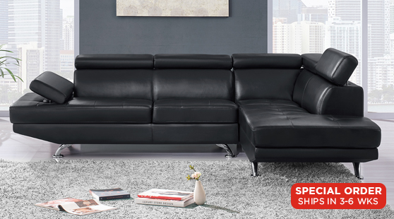Sectionals : Chan Black Sectional Sofa