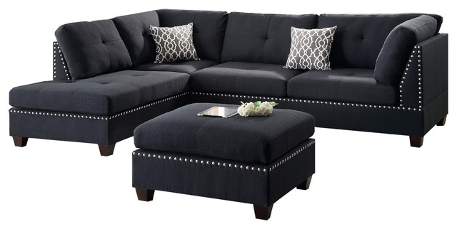 Modern Contemporary Sectional Sofa and Ottoman Set, Black