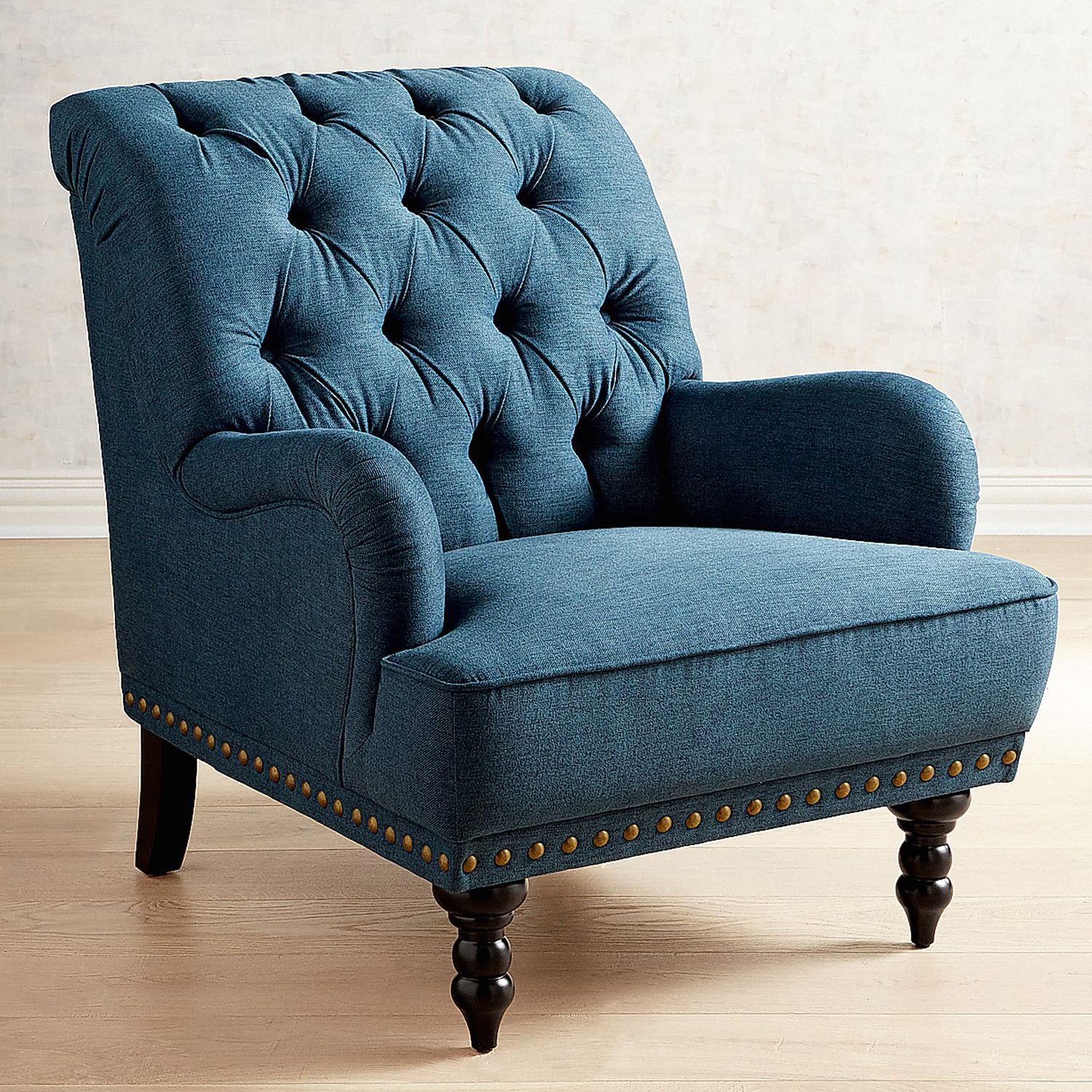 Chas Pierformance™ Twill Baltic Blue Armchair | Pier 1