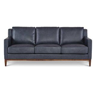 Dark Blue Leather Sofa   Wayfair