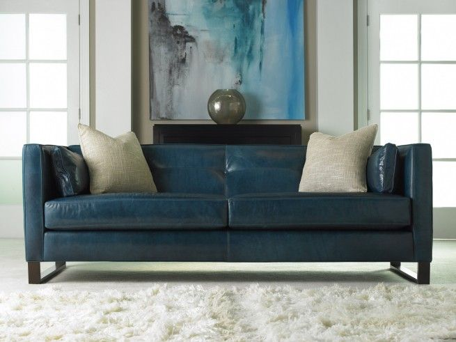 Modern blue leather sofa and gorgeous art work | Home design in 2019