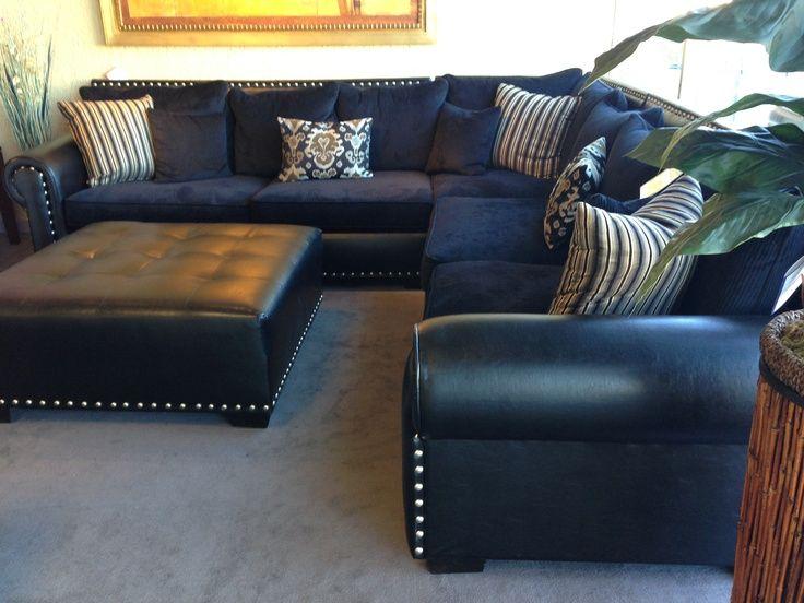 Navy Blue Leather Sectional Sofa   Home Furniture Design u2026   I've