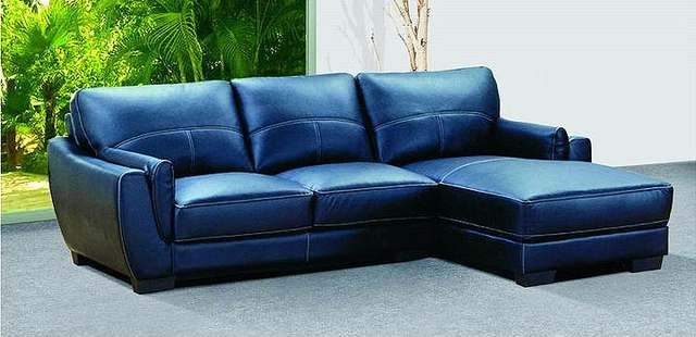 navy blue style leather couch sofa picture   Livingroom   Blue