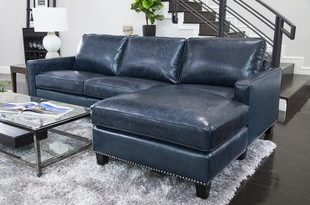 Navy Blue Leather Sectional | Wayfair
