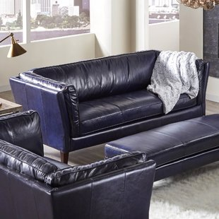 Sky Blue Leather Sofa | Wayfair