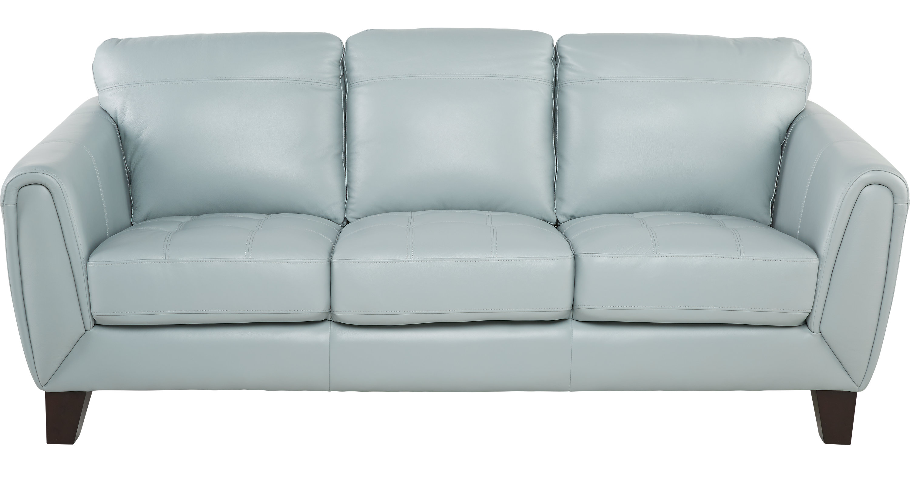 $777.00 - Livorno Aqua (light blue) Leather Sofa - Classic